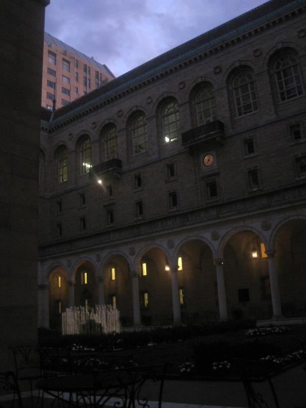 Darkened library sunset